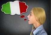 Woman speaking italian in bubble