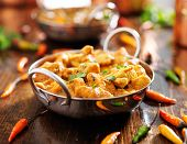 pic of curry chicken  - indian chicken curry in balti dish - JPG
