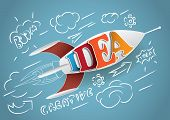 Vector illustration rocket with idea word. vector illustration