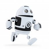 Running Robot. Isolated. Contains Clipping Path