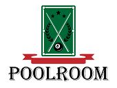 Poolroom and billiards emblem