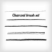 stock photo of charcoal  - Hand drawn charcoal brush set - JPG
