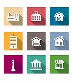 Flat buildings icons set