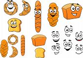 Cartoon breads with happy smiling faces