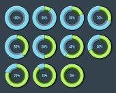 Percentage Diagram Presentation Design Elements. Infographic Chart Ring Set. Vector