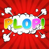 Plop! Comic Expression Vector Text.