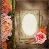 Vintage  Beautiful Roses Album Cover With Lace And Old Paper ( 1 Of Set)