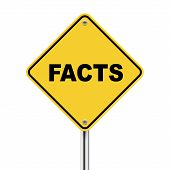3D Illustration Of Yellow Roadsign Of Facts
