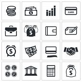 Money finance icons collection
