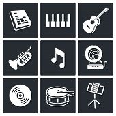 Music icons set on white background