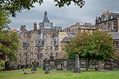 Old cemetery in  Edinburgh, Scotland.