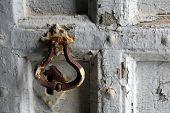 RIOMAGGIORE, ITALY - MAY 02, 2014: Detail of an ancient door of the Saint John the Baptist church in