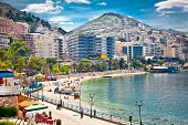 Main city promenade and pablich beach in Saranda, Albania.