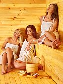 picture of sauna  - Group people relaxing in sauna - JPG