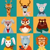 Animal hipsters icons flat