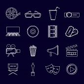 Cinema icons set outline