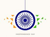 picture of indian independence day  - Beautiful hanging sticker with ashoka wheel on abstract background for 15th of August - JPG