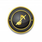 Mute Circular Vector Golden Black Web Icon Button