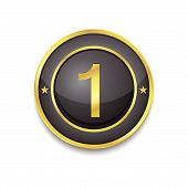 1 Number Circular Vector Golden Black Web Icon Button