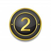 2 Number Circular Vector Golden Black Web Icon Button