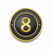 8 Number Circular Vector Golden Black Web Icon Button