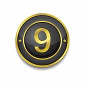 9 Number Circular Vector Golden Black Web Icon Button