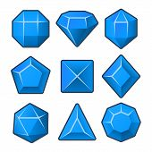 Set of Blue Gems for Match3 Games. Vector