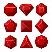 pic of gem  - Set of Red Gems for Match3 Games - JPG