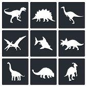Dinosaurs Icons Set