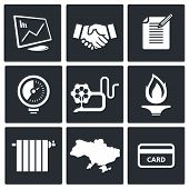 Natural Gas Industry Icon Set