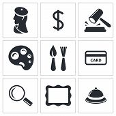 Museum, Auction Sale Icon Set
