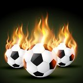 set of burning football soccer design