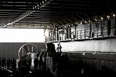 NEW YORK - MAY 22: A wide view of the well deck of the amphibious dock landing ship USS Oak Hill (LS