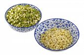 Bowls of Mung Bean (Green gram) Sprouts with and without green skins