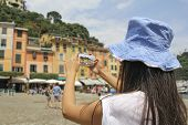 Portofino, Woman Photographing With Mobile Phone