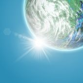 3D background with fictional Earth planet against a blue sky