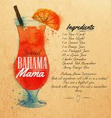 Bahama mama cocktails watercolor kraft