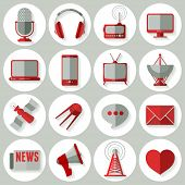 Media icons set in minimalistic style. Vector illustration.