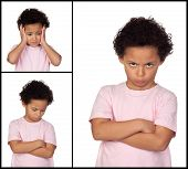 Three images of a little girl with gestures expressing negativity isolated on white background