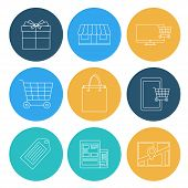 Flat Lines Shopping Icons, Ecommerce. Elements For Web And Mobile Applications.