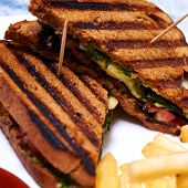 Chicken club sandwich with mozarella