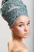 picture of turban  - sexy girl with bare shoulders in a turban - JPG