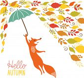cute fox fly with umbrella  poster