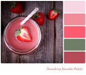 A strawberry smoothie in a glass jar, vintage style, in a colour palette with complimentary colour s