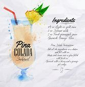 stock photo of pina-colada  - Pina colada cocktails drawn watercolor blots and stains with a spray - JPG