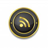 RSS Circular Vector Golden Black Web Icon Button