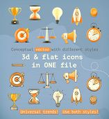 3d and flat set icons, conceptual vector with different styles