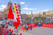 CUZCO, PERU, MAY 1, 2014 - Plaza de Armas, the unions of construction workers manifest during the 1 May Labor Day