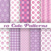 10 Cute abstract geometric bright seamless patterns (tiling)