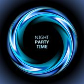 Abstract blue swirl circle on black background. Vector